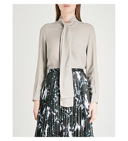 FINERY LONDON Opal neck-tie crepe blouse (Silver