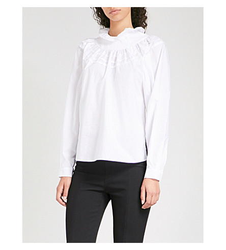 FINERY LONDON Alice ruffled cotton-poplin blouse (Washed+black+or+white