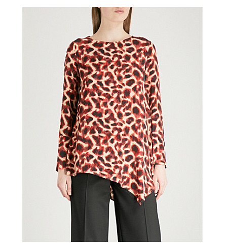 FINERY LONDON Carlos crepe top (Cheetah+print