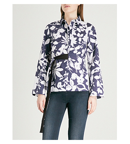 FINERY LONDON Priory belted cotton wrap shirt (Silohette+blue