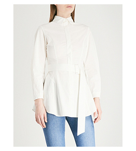 FINERY LONDON Sheen belted woven shirt (Ivory