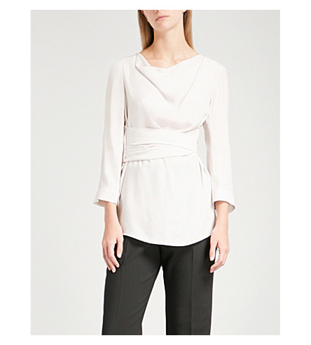 FINERY LONDON Fountain cowl-neck satin blouse (Oyster