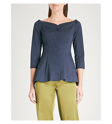 FINERY LONDON Ludwick off-the-shoulder cotton-blend top (Navy
