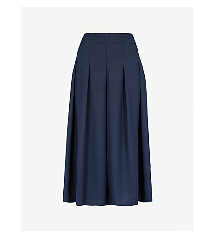 FINERY LONDON Kinross wide leg crepe trousers (Navy