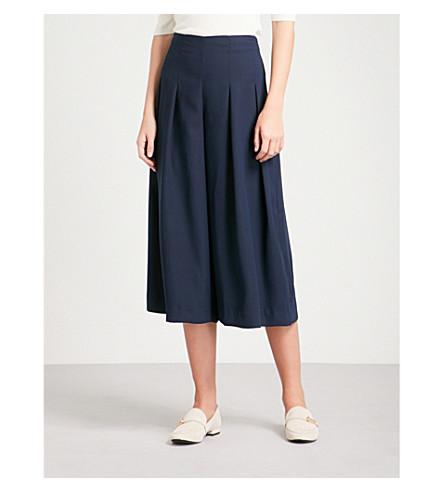 FINERY LONDON Kinross wide leg crepe trousers (Navy