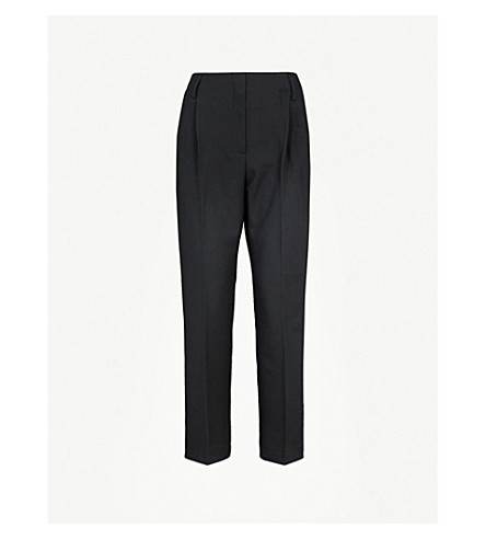 FINERY LONDON Oliver high-rise tapered crepe trousers (Black