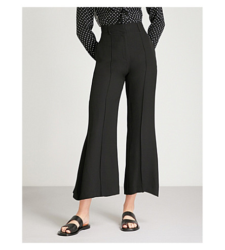 FINERY LONDON Sylvester flared high-rise crepe trousers (Black