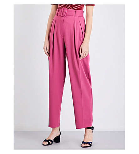 FINERY LONDON Manton pleated wide high-rise gabardine trousers (Rose+pink