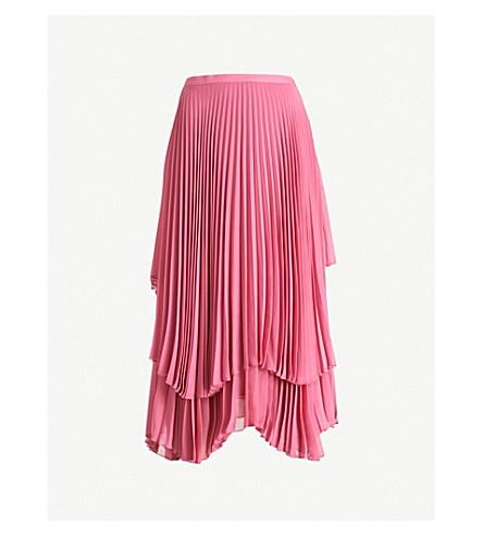 FINERY LONDON Pleated high-rise chiffon skirt (Rose+pink