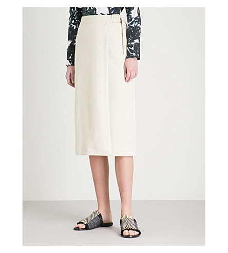 FINERY LONDON Keeley woven wrap skirt (Oyster