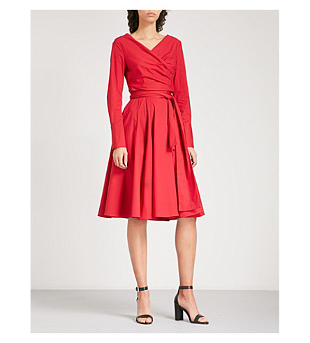 FINERY LONDON Streatley stretch-cotton wrap dress (Red