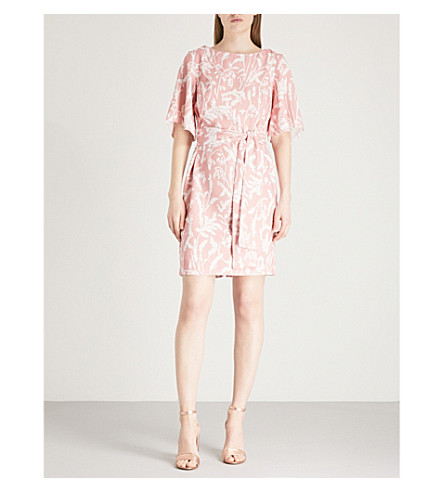 FINERY LONDON Colchester belted crepe mini dress (Pink+field+flowers+print