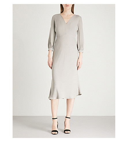FINERY LONDON Jolly V-neck crepe midi dress (Silver