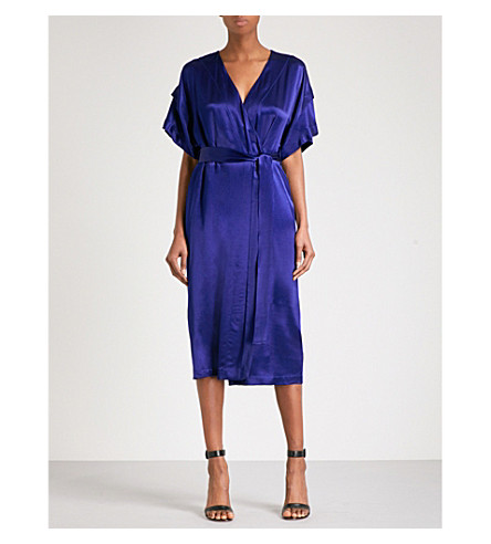 FINERY LONDON Constable tie-waist satin dress (Blue