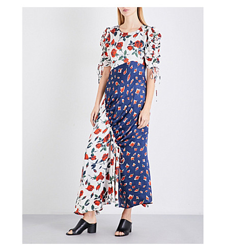FINERY LONDON Ashness floral-print satin dress (Stem+roses