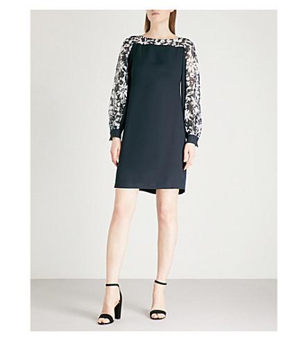 FINERY LONDON Novello crepe mini dress (Dark+navy+print