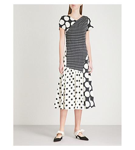 FINERY LONDON Haldane polka dot panel crepe dress (Black+/ivory
