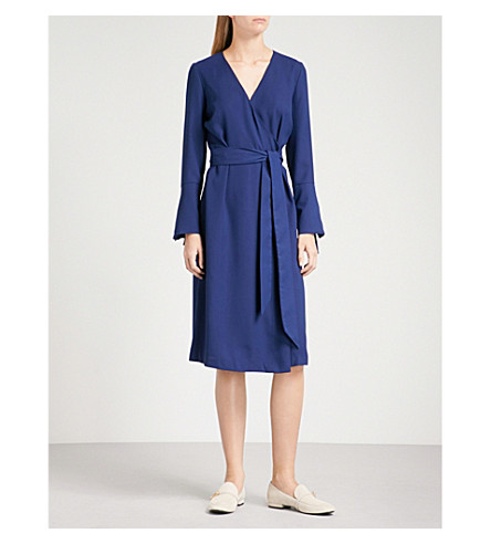 FINERY LONDON Gervase crepe wrap dress (Navy