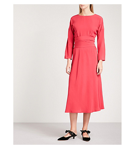 FINERY LONDON Freda crepe midi dress (Red