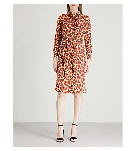 FINERY LONDON Hobart stretch-cotton shirt dress (Cheetah+print
