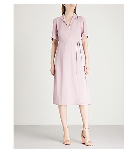 FINERY LONDON Lyall crepe wrap dress (Lavender+pink