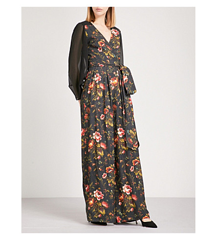 FINERY LONDON Sandingham crepe jumpsuit (Lotus+forest