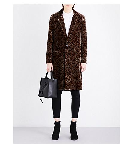 VANESSA BRUNO Geneveo leopard-print velvet coat (Fauve