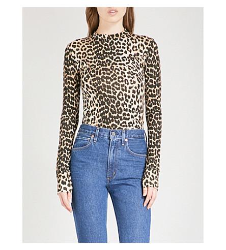 GANNI Montmartre leopard-print stretch top (Leopard