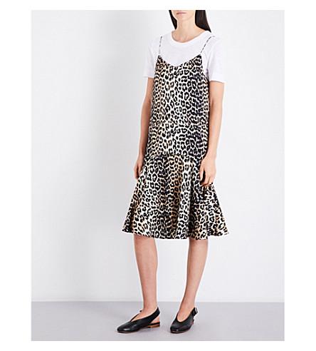 GANNI Dufort stretch silk-satin slip dress (Leopard