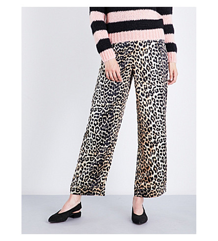 GANNI Dufort stretch-silk trousers (Leopard