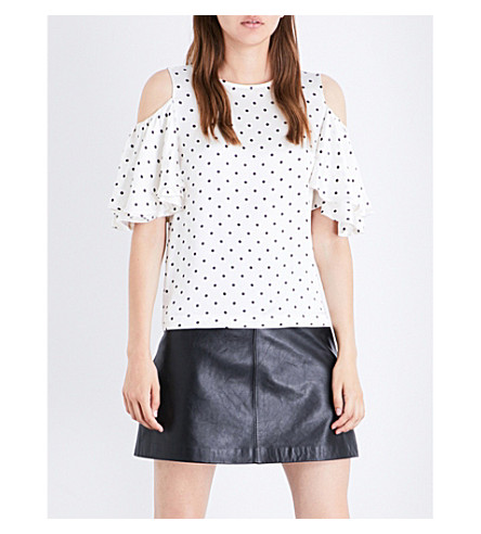GANNI Leclair polka-dot patterned cold-shoulder satin top (Vanilla+ice