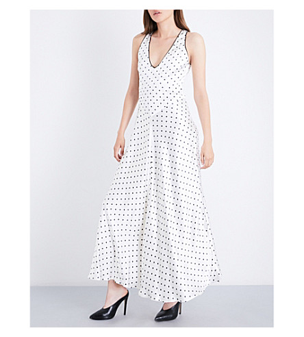 GANNI Leclair polka-dot patterned satin dress (Vanilla+ice