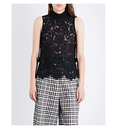 GANNI Duval sleeveless floral lace-embroidered top (Black