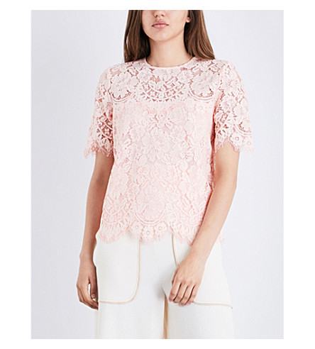 GANNI Duval lace top (Cloud+pink