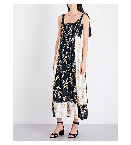 GANNI Pierre floral-print crepe midi dress (Total+eclipse