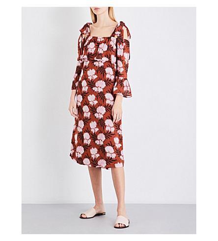 GANNI Monette cold shoulder crepe-georgette midi dress (Brandy+brown