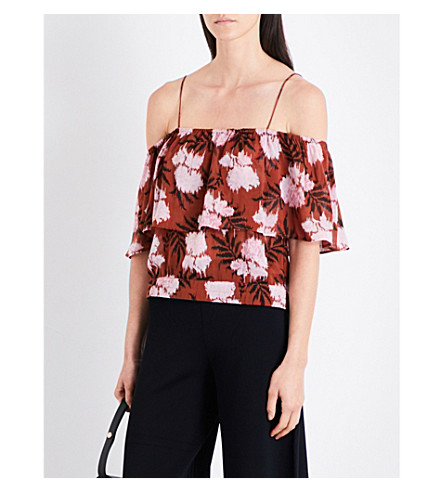 GANNI Monette cold-shoulder crepe-georgette top (Brandy+brown