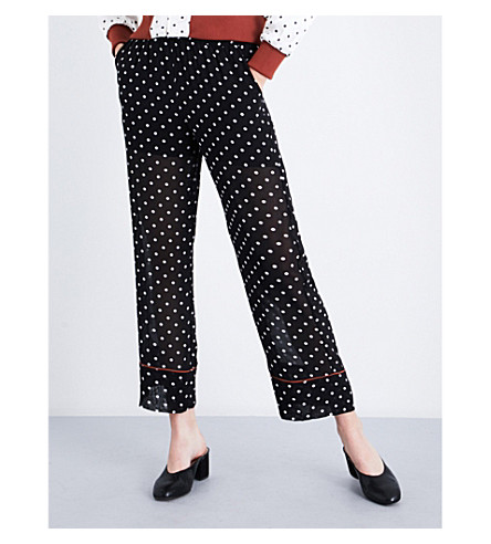 GANNI Monette straight cropped chiffon trousers (Black