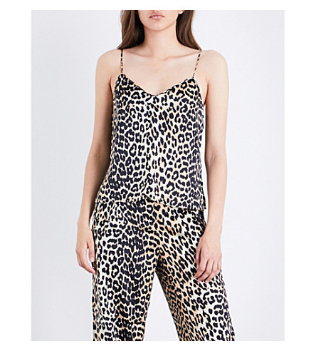 GANNI Dufort stretch-silk top (Leopard