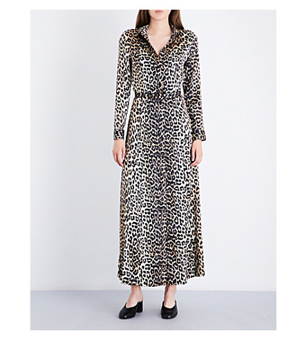 GANNI Dufort silk dress (Leopard