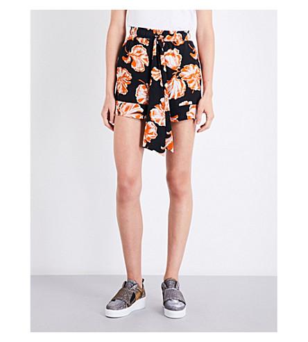 GANNI Geroux floral-print silk shorts (Black/multi
