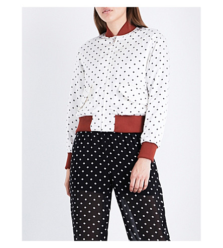 GANNI Leclair polka-dot patterned satin bomber jacket (Vanilla+ice