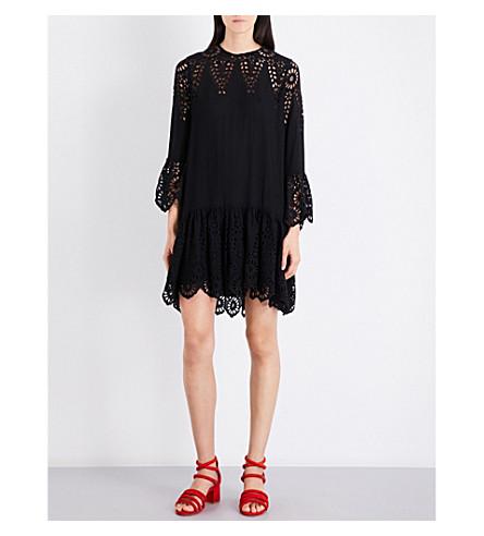 GANNI Emile broderie anglaise crepe dress (Black