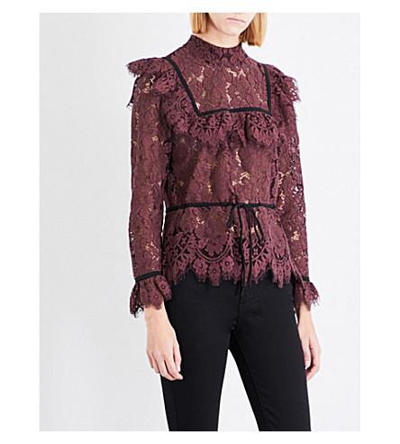 GANNI Jerome lace top (Decadent+chocolate