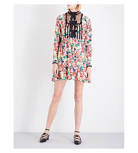 GANNI Floral-print silk-crepe de chine mini dress (Multi