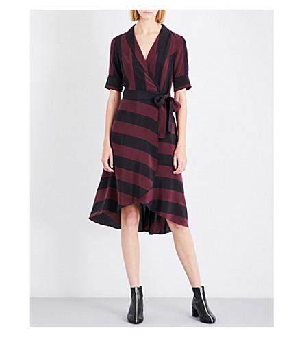 GANNI Striped silk-crepe de chine wrap dress (Decadent+chocolate