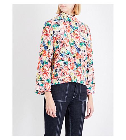 GANNI Maple floral silk top (Multi
