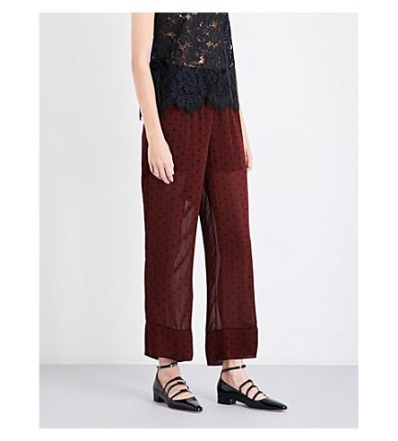 GANNI Carlton polka-dot mesh trousers (Decadent+chocolate