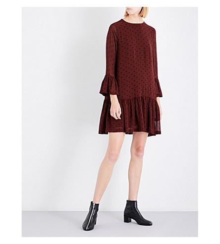 GANNI Carlton polka-dot mesh dress (Decadent+chocolate