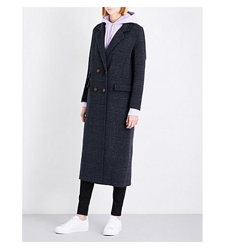 GANNI Driggs double-breasted wool-blend coat (Ebony+melange